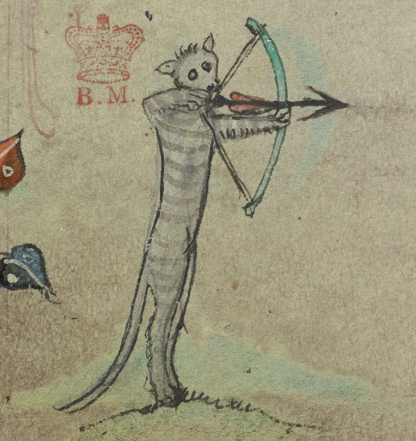 Medieval manuscript image of  a grey-striped cat standing on its hind legs and holding a bow and arrow.