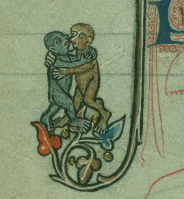 Medieval manuscript image of two monkeys embracing.
