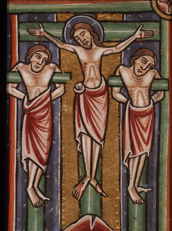 Medieval manuscript image of a Jesus on a cross with two men on crosses on either side of him.