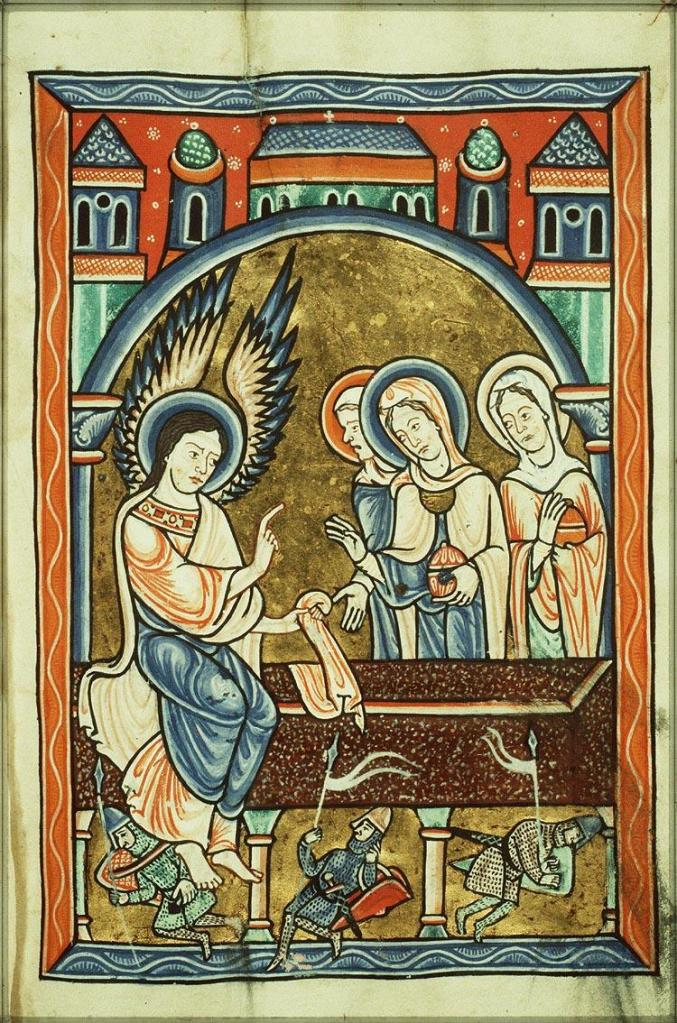 Medieval manuscript image of a winged and haloed man speaking to three haloed women beside a tomb.