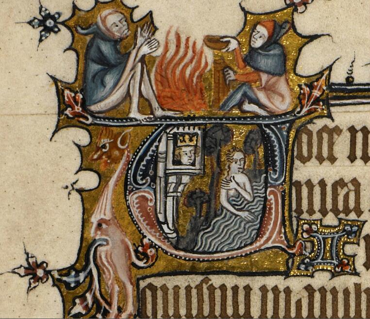 Medieval manuscript historiated initial V, showing a king in a tower spying on a woman bathing; on top of the initial, two men sit on either side of a fire.