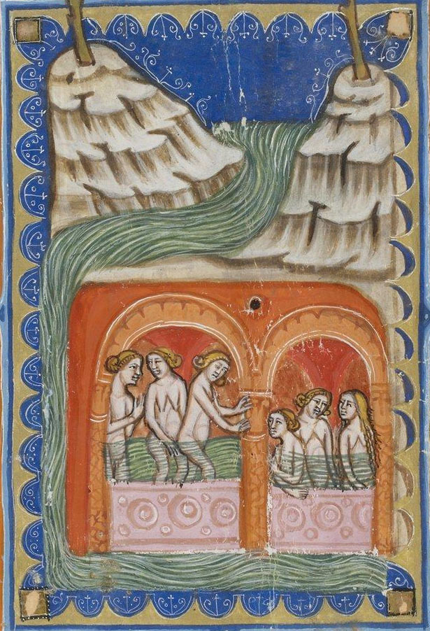 Medieval manuscript image of six women bathing in a grotto amidst rocky cliffs and a river.