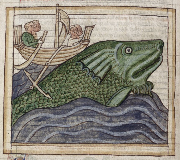 Medieval manuscript image of a whale surfacing from the ocean and raising a boat of four men.
