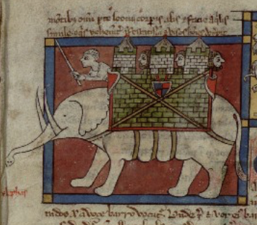 Medieval manuscript image of an elephant carrying a castle with four men on its back.