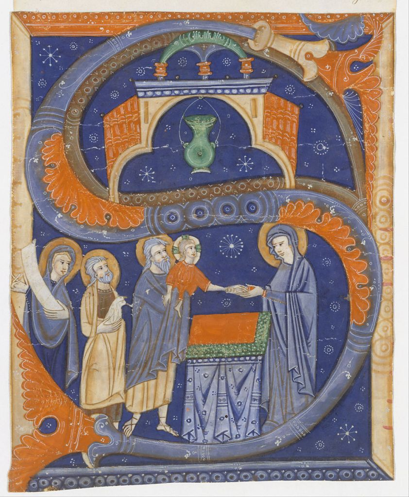 Medieval manuscript letter S, inside which is illustrated the presentation of Christ at the temple.