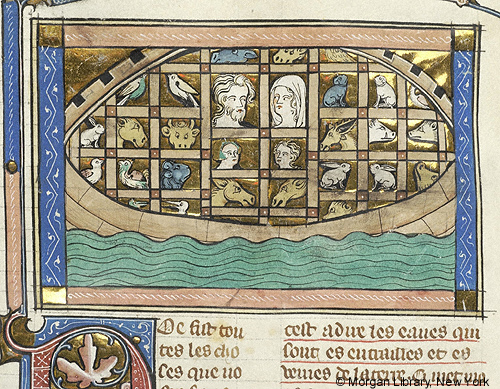 Medieval manuscript image of a boat floating in water, with the heads of two men and women and many different animals in compartments.