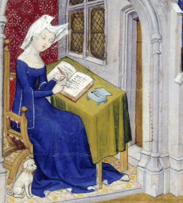 Medieval manuscript image of a woman at a desk writing in a book, with a small dog at her feet.