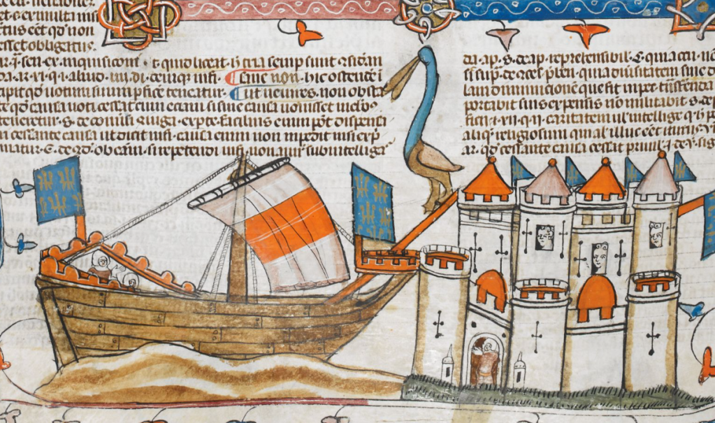 Medieval manuscript image of a ship docked beside a walled city; a giant, long-necked bird walks down a ramp that extends from a tower down the prow.