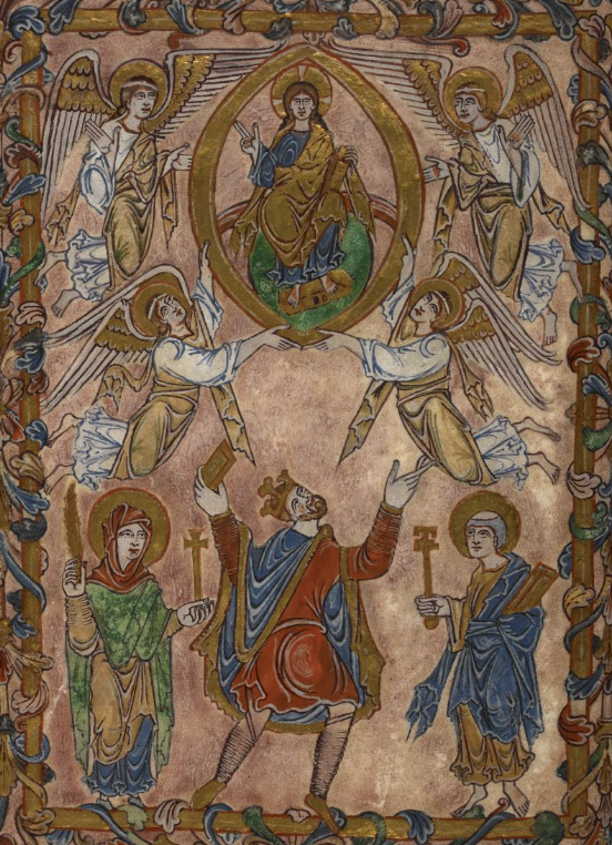 Medieval manuscript image of a king, flanked by two saints, holding a tablet or book up to Christ, who sits in a mandorla surrounded by angels.