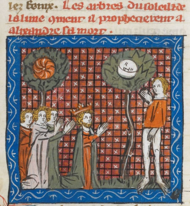 Medieval manuscript image of a king and his men kneeling and praying before two trees, one with a sun on it and one with a moon on it, to which a standing figure gestures.