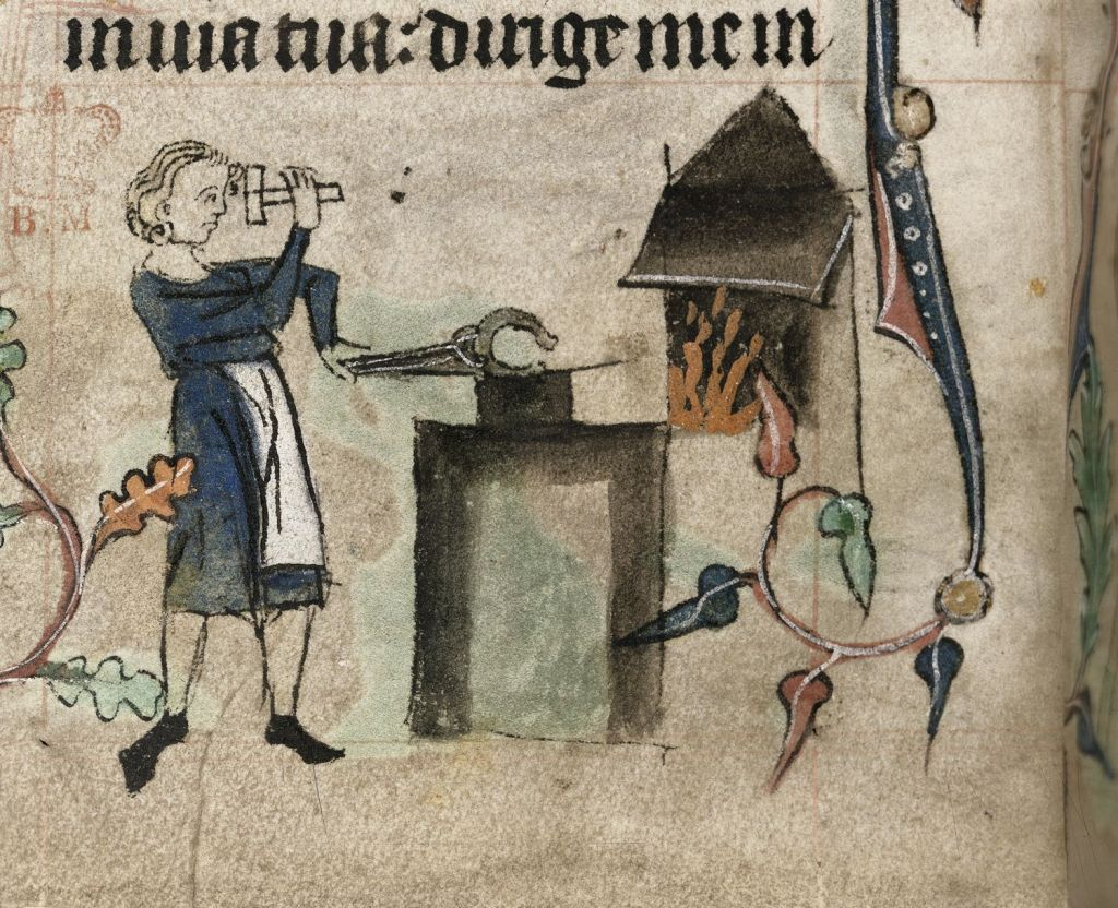 Medieval manuscript image of a blacksmith holding a hammer in one hand and in the other hand a tool positioning a horseshoe on an anvil.