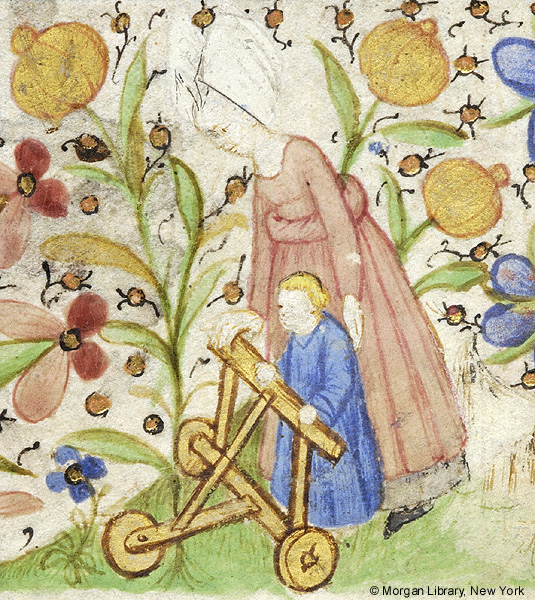 Medieval manuscript image of a mother and her child holding onto a three-wheeled walker.