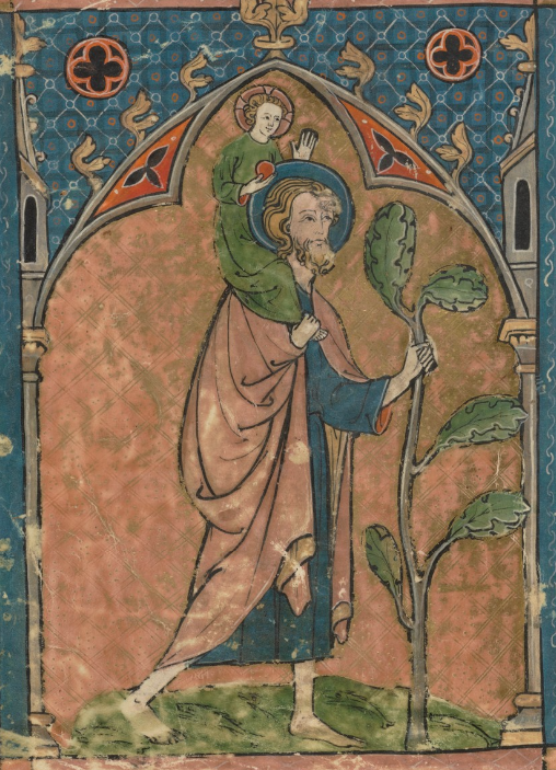 Medieval manuscript image of a barefoot St Christopher crossing a river, carrying the infant Jesus on his shoulders.