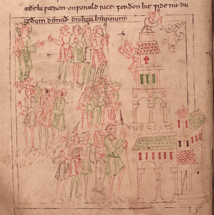 Medieval manuscript line drawing in red, green and black that shows two men working on a tower while crowds of people look on.