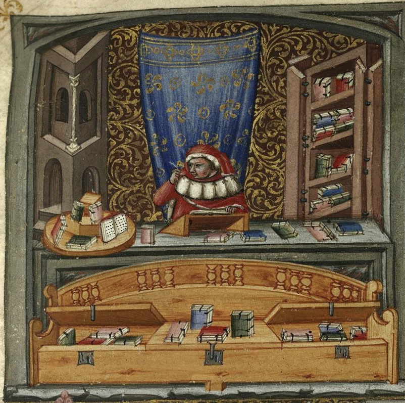 Medieval manuscript image of a man in a room surrounded by books sitting at a desk and writing.
