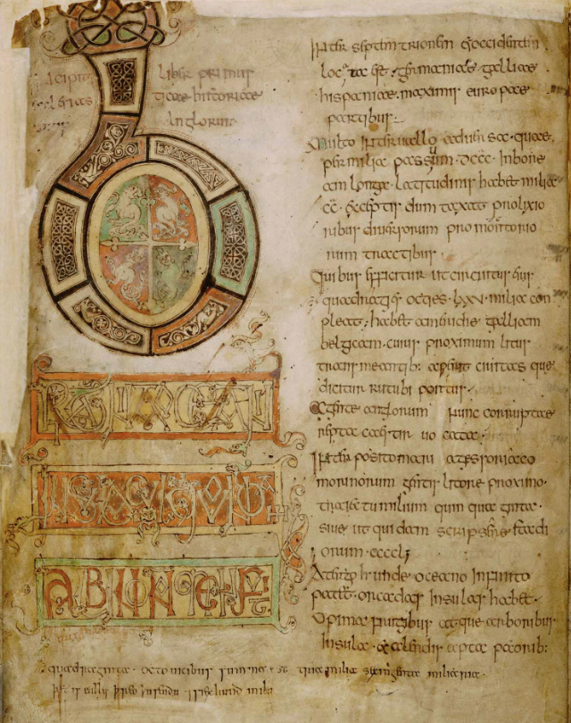 Medieval manuscript page with two columns of writing, with the column on the left containing a giant letter B that is elaborately decorated with knot work and zoomorphic designs.