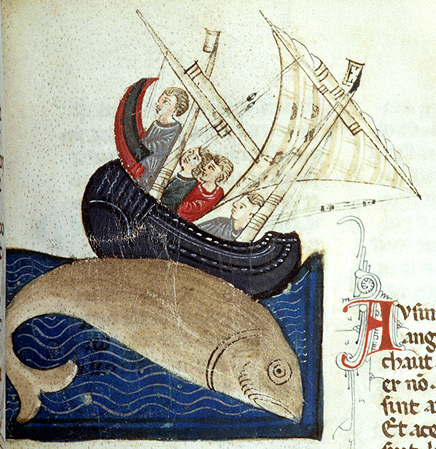 Medieval manuscript image of a giant fish diving beside a two-masted, tilted ship in which are four men.