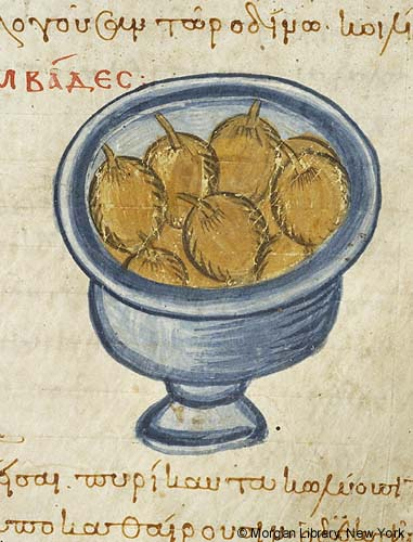 Medieval manuscript image of a container of green olives amidst Greek writing.