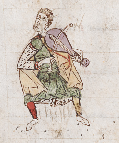 Medieval manuscript image of a caped man playing the viol, wearing one red stocking and one yellow one.