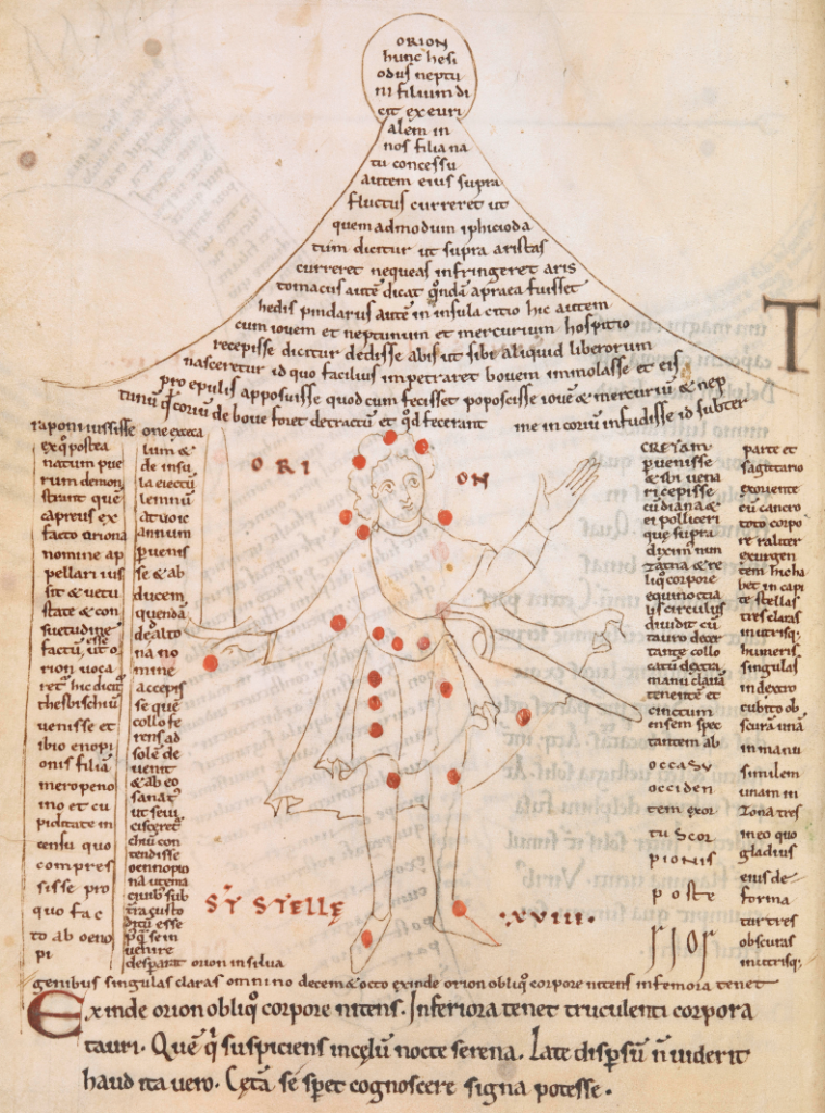 Medieval manuscript image of a man with a sword dotted with red circles to represent the shape of the constellation Orion; the man stands inside blocks of text that are shaped like a house.