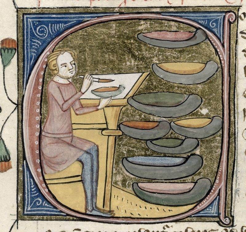 Historiated initial C in a medieval manuscript in which a man sits at a desk and mixes colours, a selection of 8 pigments before him.