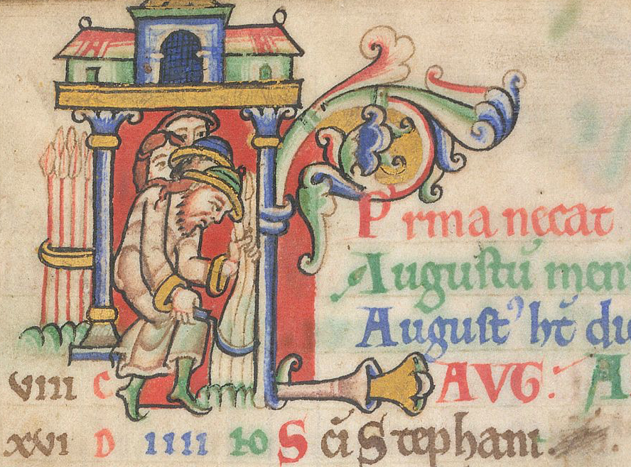 Multi-coloured historiated initial containing a man harvesting corn while three people watch from behind him; the Latin text of the manuscript includes the word August.