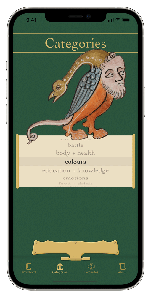 iPhone showing the Categories tab of the Old English Wordhord app. Medieval manuscript illustration of a bird man creature and a list of categories on a scroll.