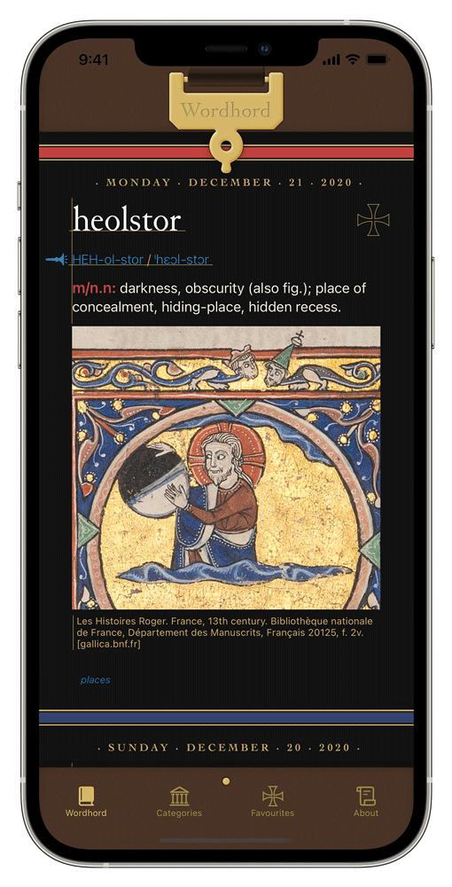 iPhone showing the Old English Wordhord app in dark mode with a word displaying. holster: darkness with a manuscript illustration of a man holding a sphere that's half-black, half-white