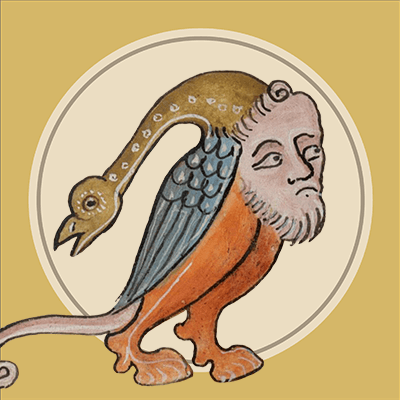 Hoofed man with a bird hat in a circle.