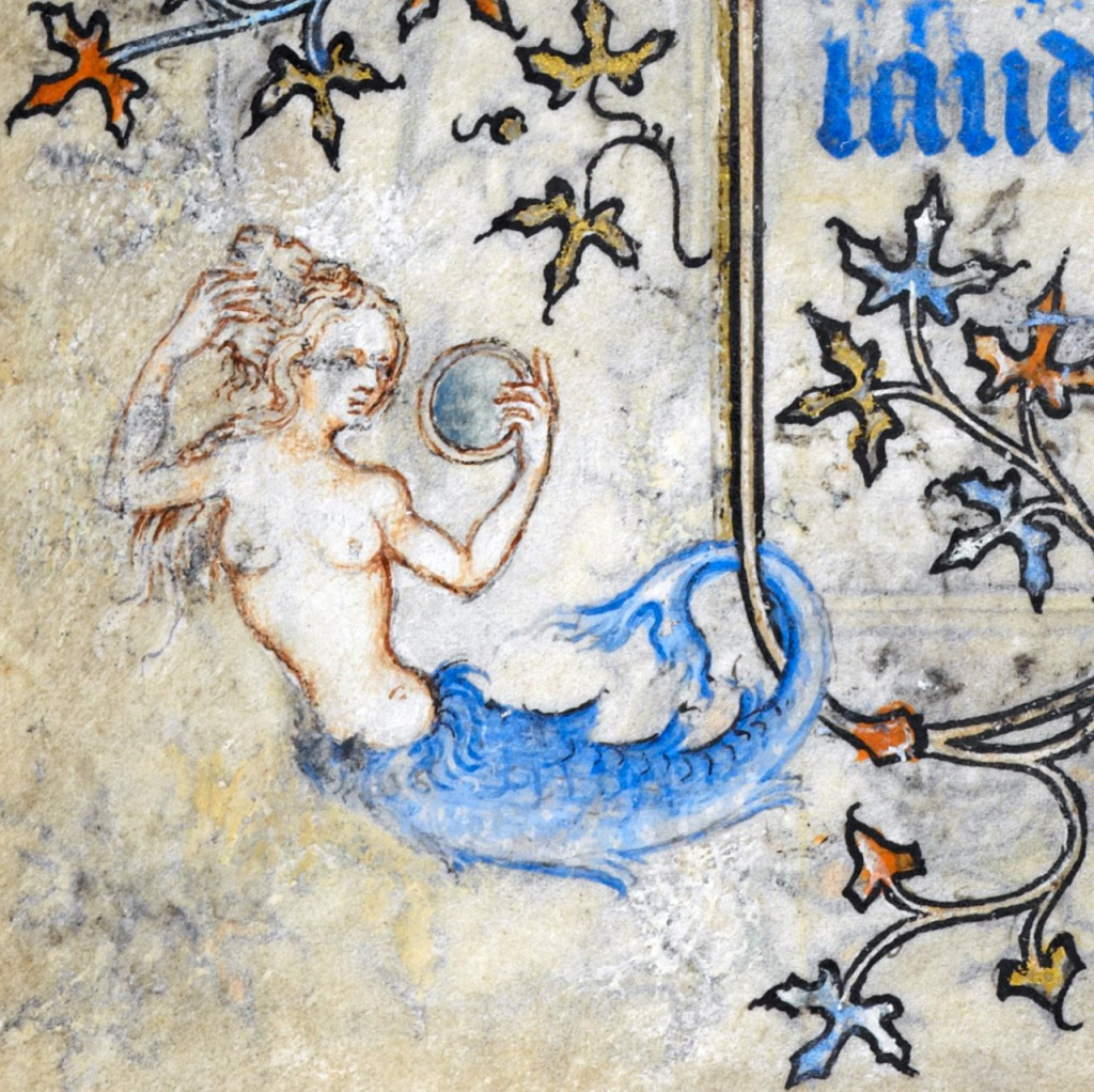 Medieval manuscript image of a blue-finned, bare-breasted mermaid, combing her hair with one hand and holding a looking glass in the other.