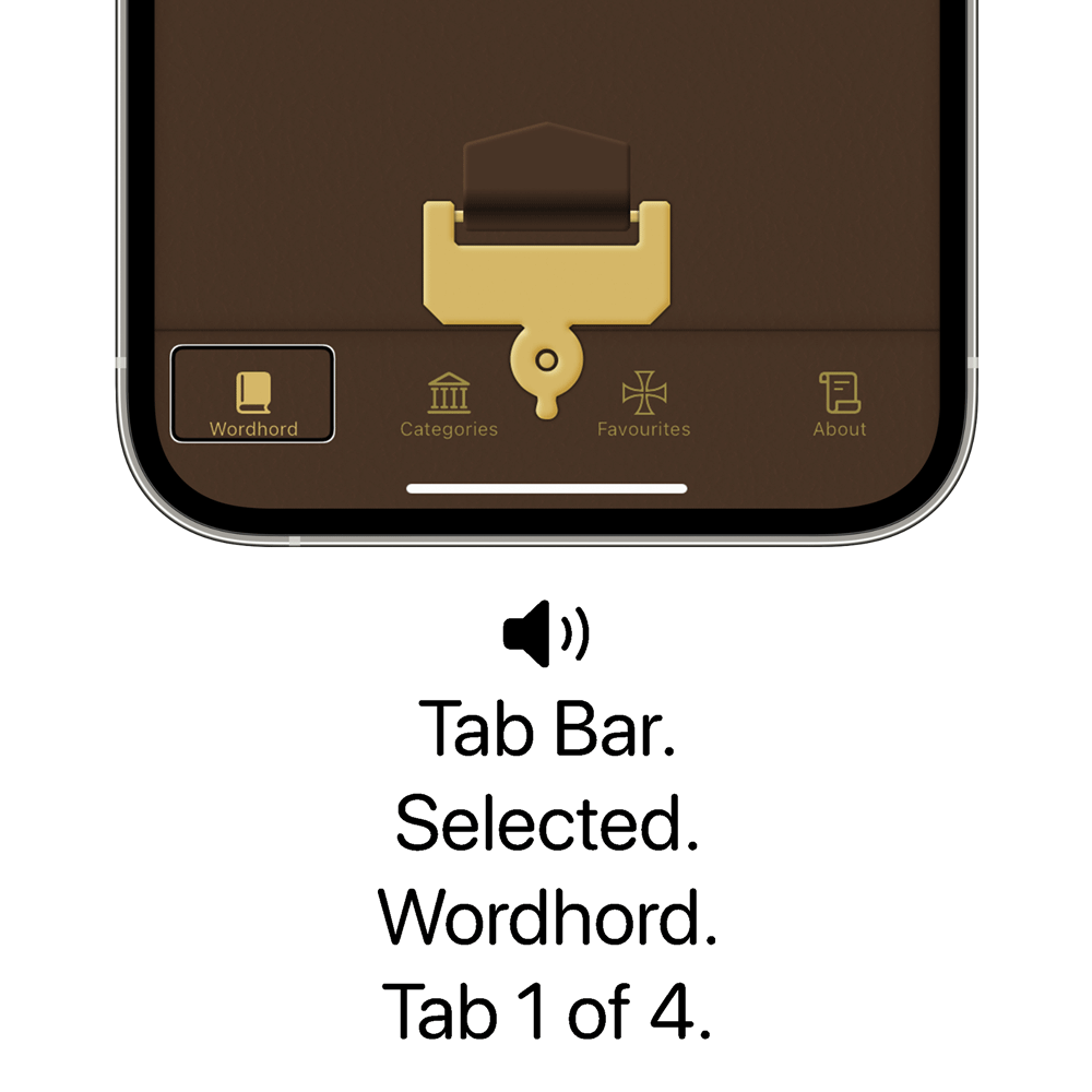 Bottom of an iPhone showing the Old English Wordhord app with the Wordhord tab item highlighted. Below is a speaker icon with the text: Tab Bar. Selected. Wordhord. Tab 1 of 4.