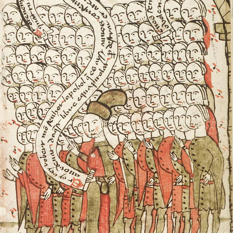 Medieval manuscript image of a massive group of people, seven rows of a dozen or so each; one man standing in front holds a scroll in one hand that winds upwards across the crowd.