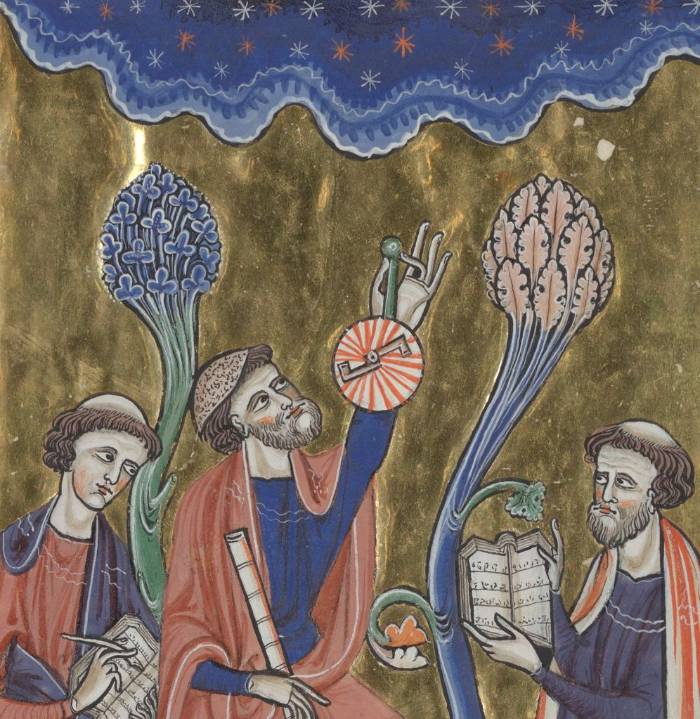 Medieval manuscript image of a man looking at the stars with an astrolabe in one hand and a tube in the other; another man holds a book open while a third man writes in a book.