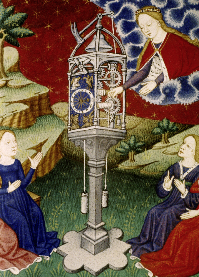 Medieval manuscript image of a huge intricate clock, standing on earth, but with its open and visible wheel-work and dial and bell in heaven; women sit at the base of the clock, while a crowned woman in the clouds winds it.