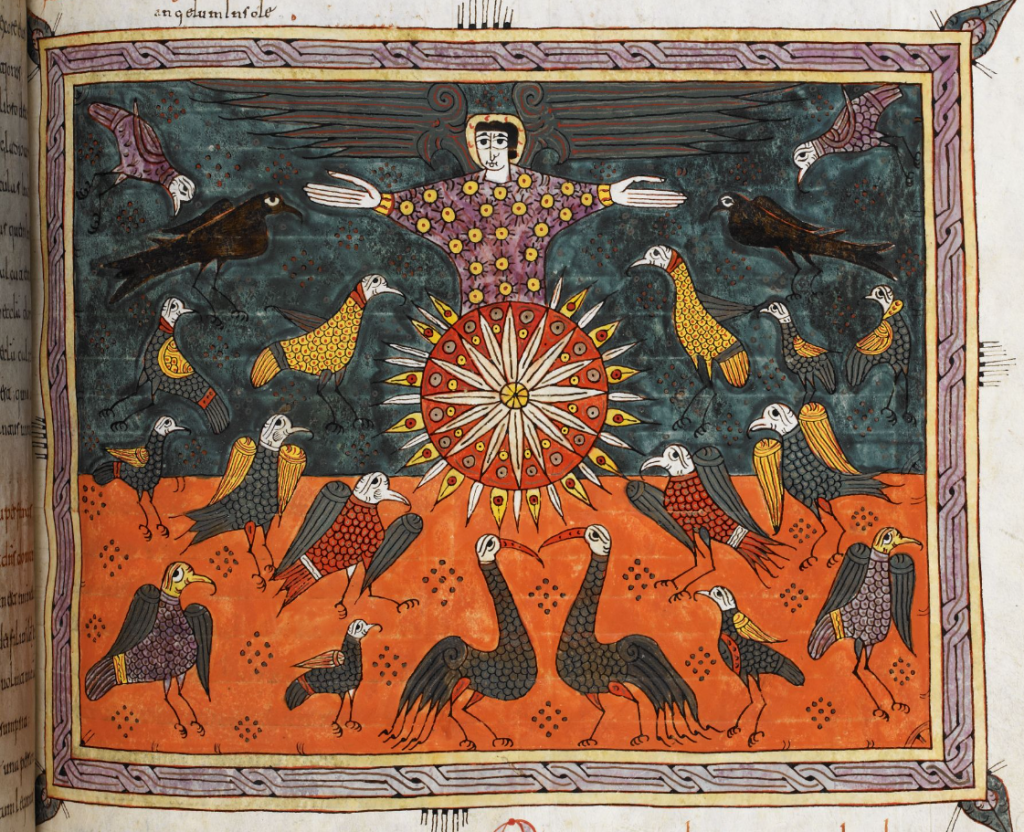 Medieval manuscript image of the sun, with an angel stretching out his arms above it, surrounded by a flock of multi-coloured birds.