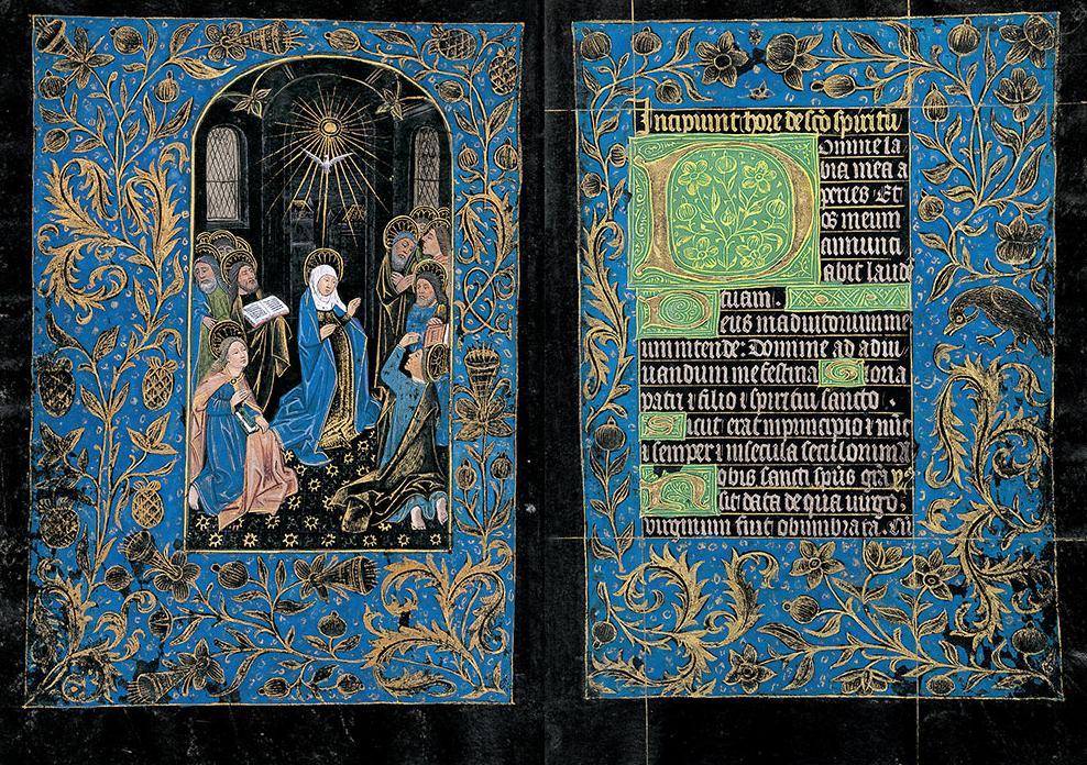 Two facing pages of a medieval manuscript made of black-dyed parchment, with an illustration of saints on the left and Latin writing in gold and white on the right; the margins are decorated with a floral design in gold leaf on a field of blue.