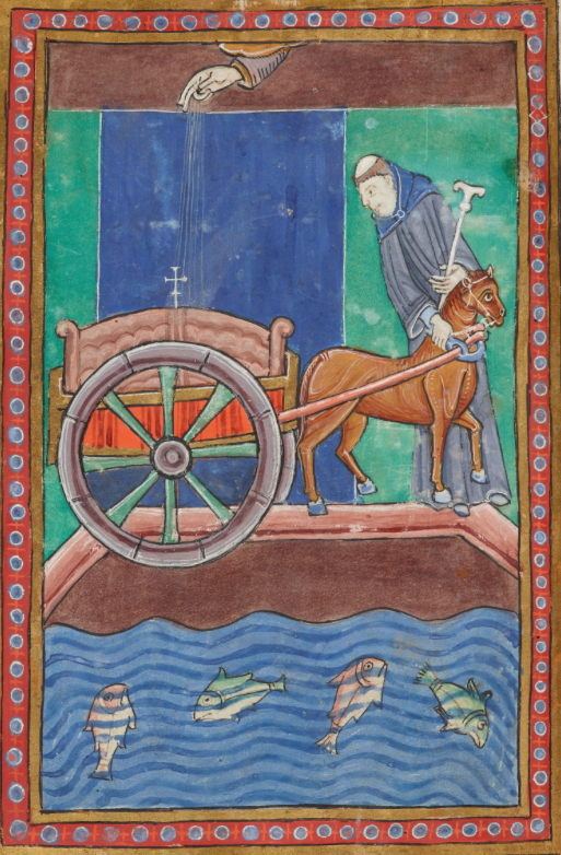 Medieval manuscript image of a tonsured monk leading a horse pulling a two wheeled cart across a bridge; the hand of God points down from the clouds to the reliquary in the cart, and four fish swim in the river beneath the bridge.