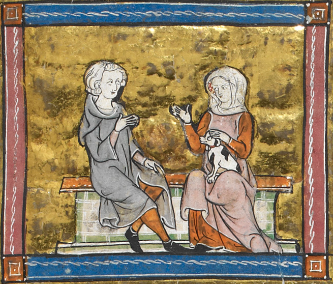 Medieval manuscript image of a man and woman sitting and conversing on a bench, with a small dog sitting in the woman's lap.
