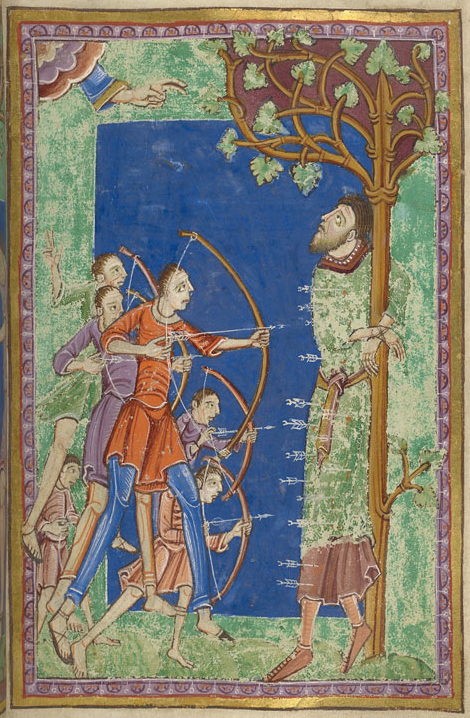 Medieval manuscript image of archers shooting arrows into a man bound to a tree; the man gazes up at the clouds from which a hand is shown giving a gesture of blessing.