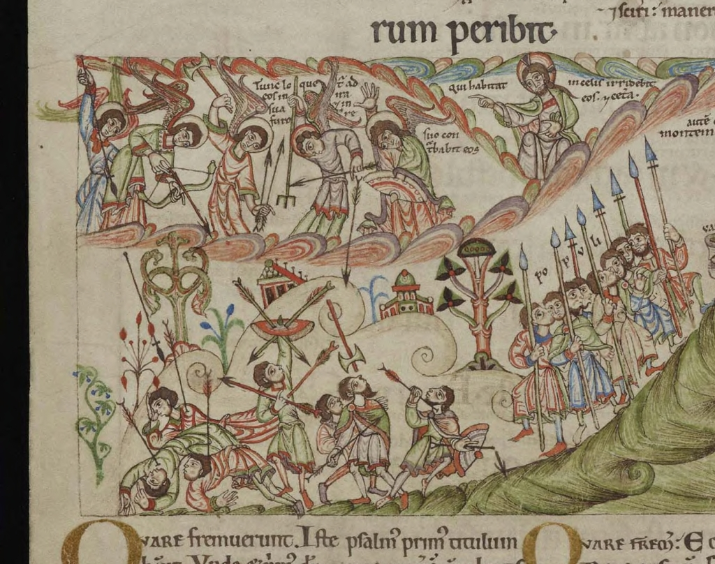 Medieval manuscript image of angels in heaven hurling spears and axes and shooting arrows down at a group of soldiers below; God points to the angels, as if directing them, and another group of men marches towards the battle with spears.