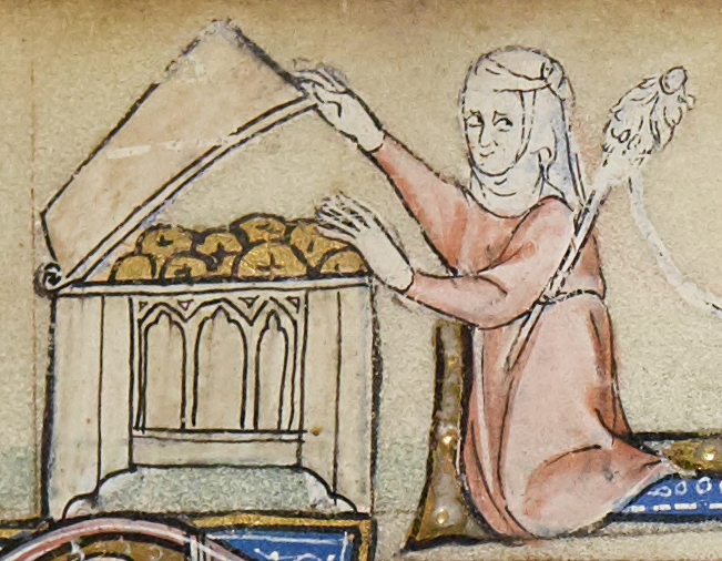 Medieval manuscript image of a woman opening a large chest full of golden donut-shaped objects while looking behind herself cautiously, a distaff or long stick with wool fibre tucked into her belt.