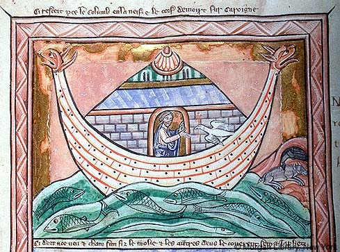 Medieval manuscript illustration of Noah extending his hands toward a dove flying toward him; he stands on a large boat with animal-headed prows, sailing on waters filled with fishes and eels, while on land a raven pecks at an animal carcass.