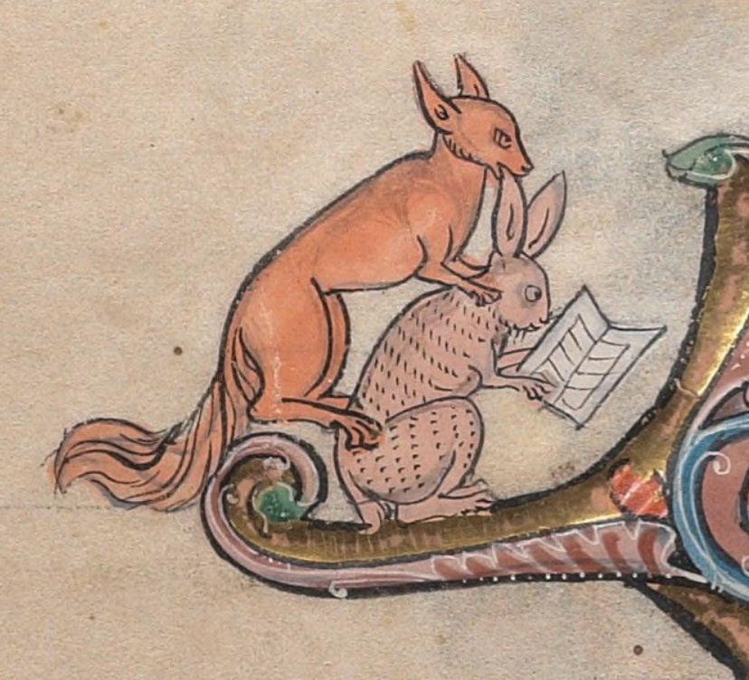 Medieval manuscript image of a rabbit reading from a book with a fox crouched on its back.