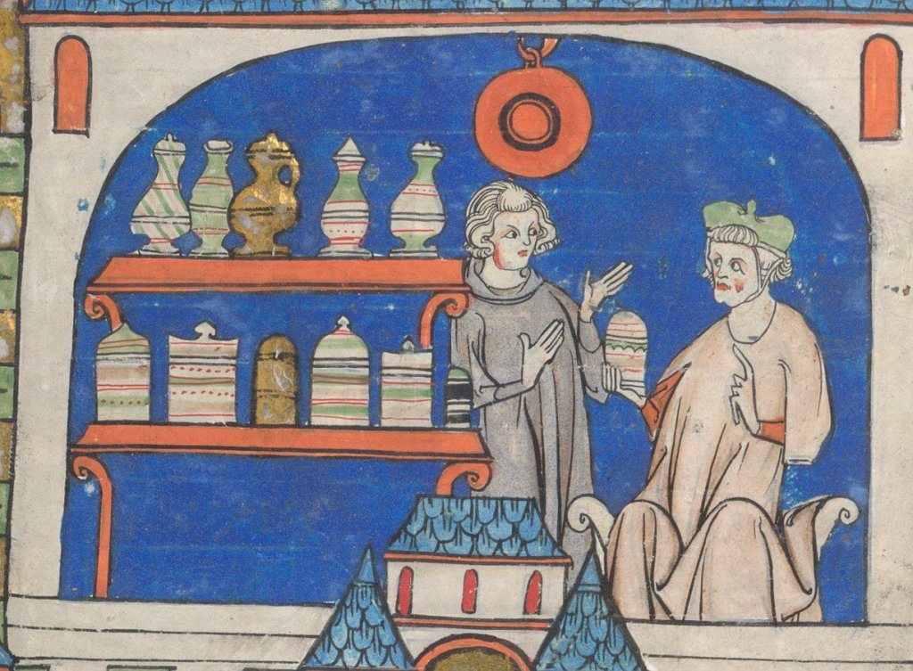 Medieval manuscript image of two men conversing in a room with shelves stocked with various jars; one man points to a jar in his hand, while the other gestures with both hands.