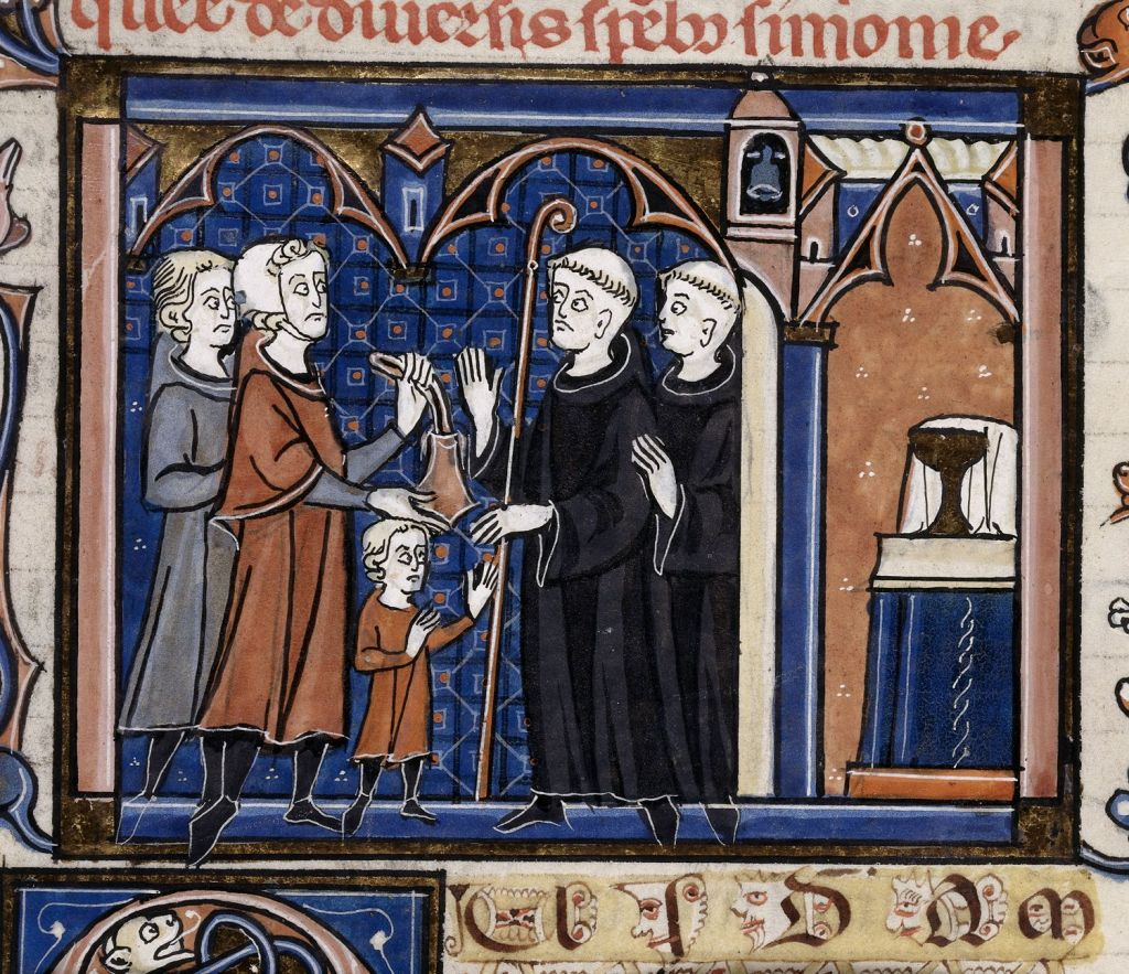 Medieval manuscript image of a small boy being received into a monastery; he faces two tonsured monks who have come out of a church, while two laypeople stand behind him and hold out a bag.
