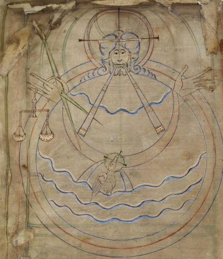Medieval manuscript illustration of God creating the world: from behind a circle with wavy blue lines and a haloed bird, a long haired, bearded man with halo reaches out his arms; he manipulates various tools in his outstretched hands and closed mouth.
