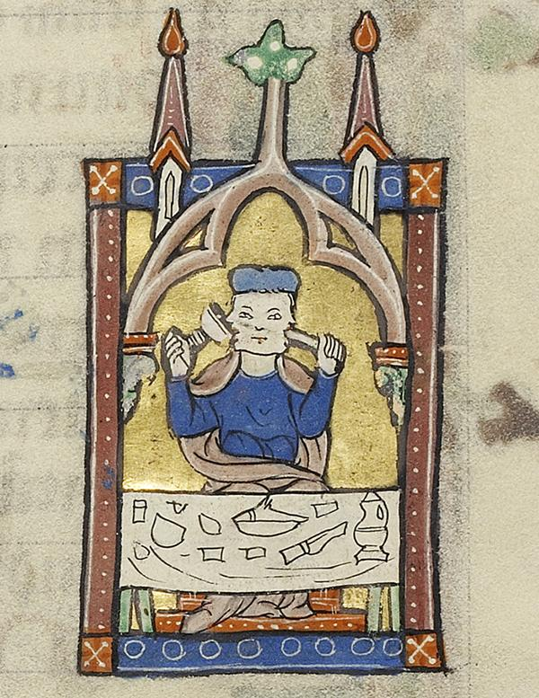 Medieval manuscript image of a two faced man sitting at a table; one mouth is drinking from a goblet, while the other is eating.