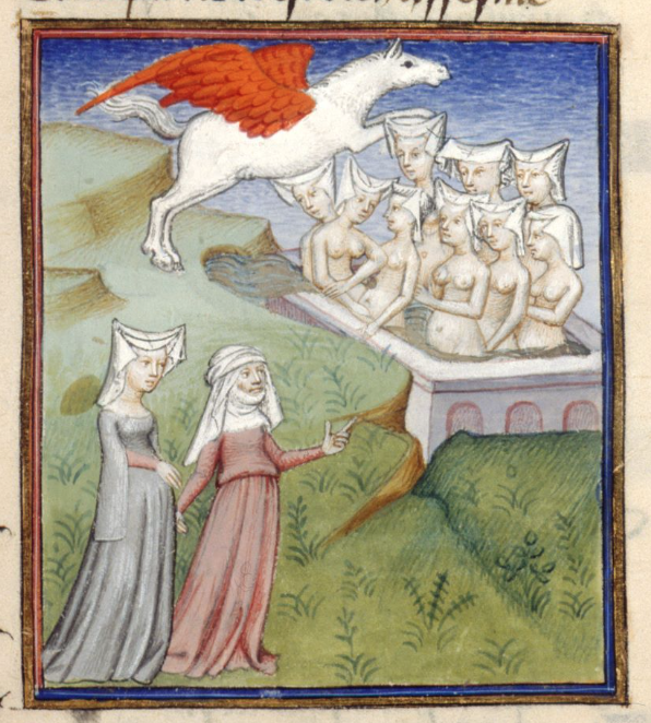 Medieval manuscript image of two women clothed in long dresses observing a red-winged horse flying over nine women in an outdoor bath; the bathing women are naked except for the wimples on their heads.